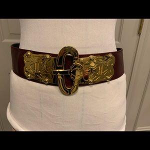 Escada Maroon Red Leather Wide Belt Gold Buckle